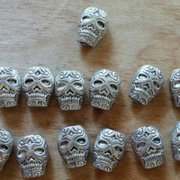 Skull Beads | Metal Skull Beads | Halloween Beads | Destash | Bracelet Supplies | Jewelry Supplies | Day of the Dead Beads