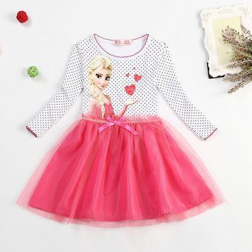 Summer girls dresses children's clothing elsa princess dress for girl infant kids costume party baby elza anna clothes