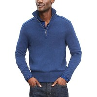 Banana Republic Mens Mixed Gauge Half Zip Pullover