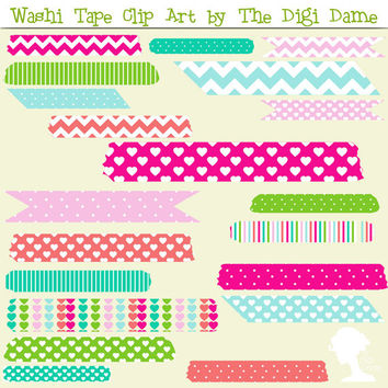 Digital Scrapbooking Elements/Clip Art: Washi Tape in Hot Pink, Light Pink, Teal, Aqua, Green, Peach and White