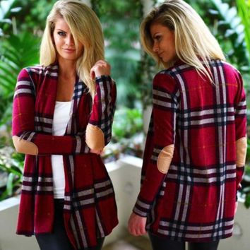 Long sleeve plaid cardigan jacket