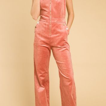 Corduroy Overalls With Ruffle Detail (7IR4318A)