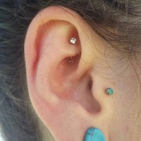 """Rook earring daith piercing 16g ear earring rose gold titanium curved barbell 5/16"""" vertical labret eyebrow rings body jewelry gems clear 1"""