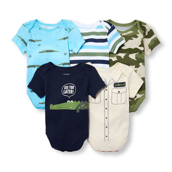 Baby Boys Short Sleeve 'See You Later' Alligator Bodysuit 5-Pack