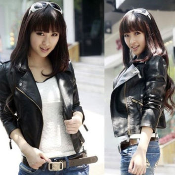 Women Slim Biker Motorcycle Synthetic Leather Zipper Jacket Black Coat Size XS S M L XL 2XL = 1930519556
