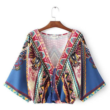 Women vintage Boho print V-neck blouses tassel design long sleeve bat shirts ladies summer casual retro tops ropa mujer LT963