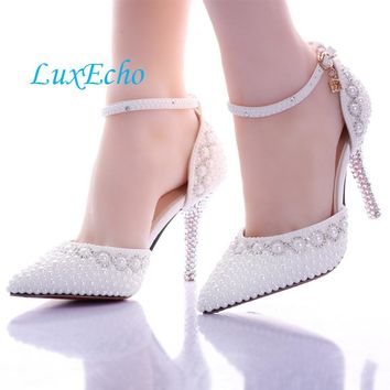 Pointed toe White pearl rhinestone wedding shoes 7cm/9cm thin heels shoes fashion bridal shoes female party sandals