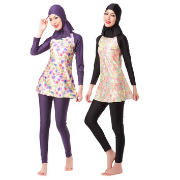 New Printed Women Islamic Swimwear Three-piece Full Coverage Muslim Swimsuits Ladies Long Sleeve Swim Bathing Suit 63280
