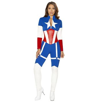 Sexy Civil War Lady America Catsuit with Accessories