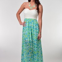 Kate Semi-lined Green and Turquoise Floral Print Maxi Dress with Ivory Textured Strapless Bodice