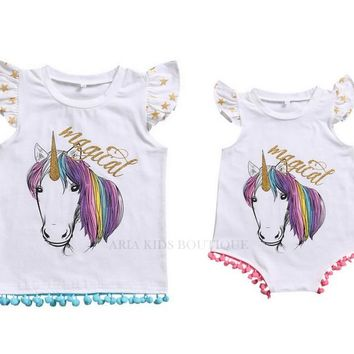 Magical Unicorn Sibling Outfit, Big Sister T-shirt, Little Sister Romper Outfit