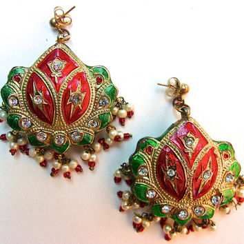 Moghul Multi Color Rhinestone Earrings, Red Green Enamel, Pearls, Dangles, Vintage