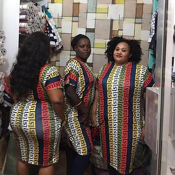 Tilapia 2017 new women dress african ankara style mama big size summer dashiki dress bazin riche loose femme vestidos