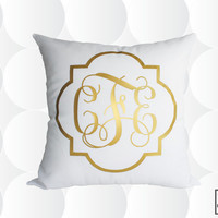 Monogram Throw Pillow Cover - Gold or Silver - Quatrefoil Monogram Pillow Cover
