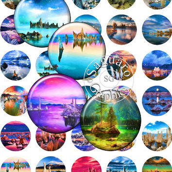 Mystic Lake Swirly Lines Paintings Art - Digital Collage Sheets - 1.5 inch Circles for Jewelry Makers, Party Favors, Crafts Projects