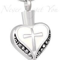 "Cremation ""White Cross Heart"" Urn Necklace"