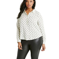 Plus Size White Elephant Print Long Sleeve Blouse