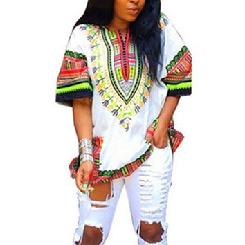 Women  Indie Folk Tops Unisex Tribal African Shirt Tee Shirt Men Women Dashiki Print Hippie Style Summer Casual T shirt