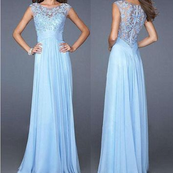 VONEHL5 Ball Gown Sexy Slim Lace Chiffon Zippers 10-color Prom Dress