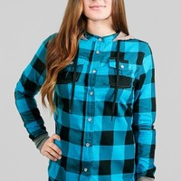 Glamour Kills Clothing - Girls The Observer Plaid Hooded Button Up