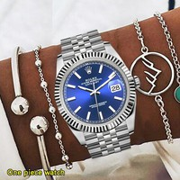 Rolex Fashion New Metal Watchband Women Men Personality Watch Wristwatch
