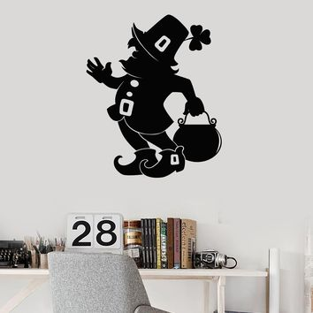 Vinyl Wall Decal Leprechaun Irish Room Art Decor Ireland Irishman Stickers Mural Unique Gift (ig5229)