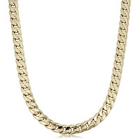 """14k Yellow Gold Miami Cuban Curb Hollow Link Mens Necklace, 22"""""""