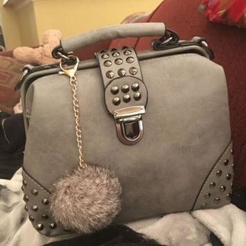 gray leather chic chic crossbody handbag shoulder bag with rivet fur tail gift  number 1
