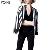 YOINS 2016 New Woman Fashion Slim Striped Blazer Lapel Collar Single Button Ladies Jacket OL Overcoat Outerwear Plus Size