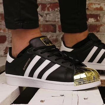 Adidas Superstar Metal Toe Black Gold Men And Women Running Shoes Bb5114