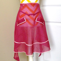 Vintage Dainty Wine Sheer Kitchen Apron with Pink Trim, Circa 1950s-1960s