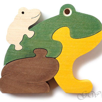 Wooden Puzzle Frog, Wooden toys. Wooden Animal Puzzle