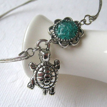 Turtle Bangle Turtle Bracelet Silver Turtle Stained Glass Turtle Jewelry Blue Turtle Charm Bangle Bracelet Fertility Charm Bracelet