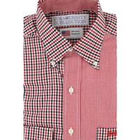 The Athens Sports Shirt in Two Tone Black/Red Tattersall and Red Gingham by Fraternity Collection