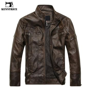 KENNTRICE Autumn Winter Brand Leather Jacket Men Slim Brown Stand Collar Jaqueta Couro Bomber Jacket Faux Leather Fur Coat Suede