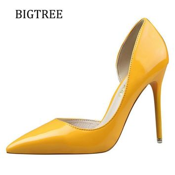 Size34-39 Brand Shoes Woman Pumps Red High Heels Extreme Pointed Toe Wedding Shoes Platform Sexy Yellow Shoe Heels Zapatos Mujer