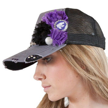 KSU Gray and Purple Trucker Hat with bling