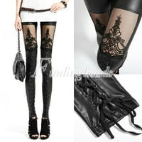 Faux PU Leather Gothic Punky Embossed Decorative Pattern Tight Leggings Black