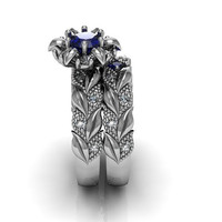 Art Deco Ring -  Antique Style Sterling Silver Created Blue Sapphire Rose Leaf Floral  Engagement  Wedding Anniversary and Promise  Ring Set