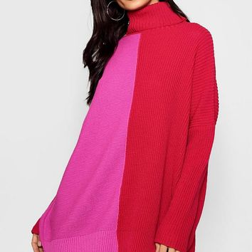 Monochrome Colour Block Roll Neck Jumper | Boohoo
