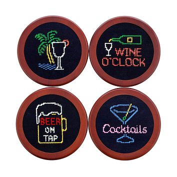 Last Call Needlepoint Coasters in Midnight by Smathers & Branson