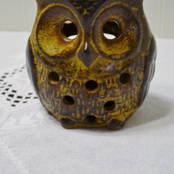 Vintage Pottery Owl Candle Holder Brown Hanging Tealight Retro Patio PanchosPorch