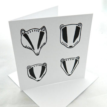 Hand Screen Printed Badger Illustration Blank Greetings Card