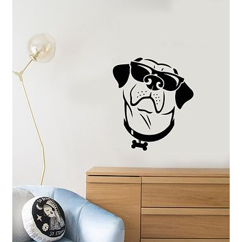 Vinyl Wall Decal Funny Dog In Sunglasses Pet For Kids Room Stickers (3965ig)
