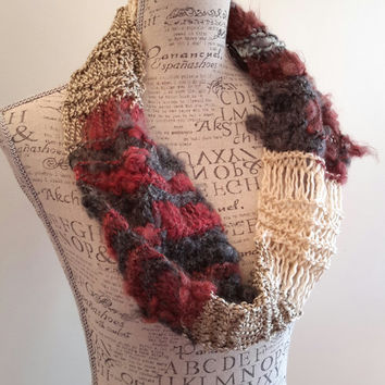Knit disheveled burgundy and cream scarf. Made by Bead Gs on ETSY. infinity Mars cowl.