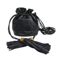 Chanel Vintage Black Lambskin Leather Mini Drawstring Bucket Crossbody Bag