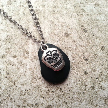Black Sugar Skull Necklace, Day of the Dead Skull Charm Necklace, Dia de los Muertos, Gothic Jewelry, Eco Recycled Glass, Goth Jewelry