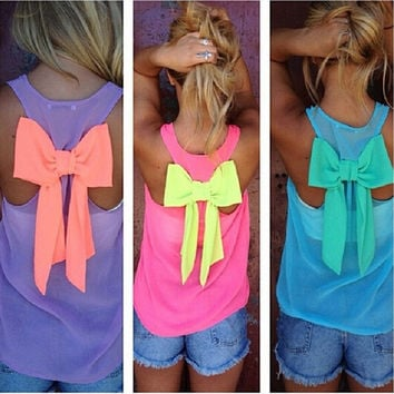 Sexy Girl's Sleeveless Mesh Chiffon blouses With Bowtie Back Plus size Chiffon Shirts Candy Colors = 1958350020