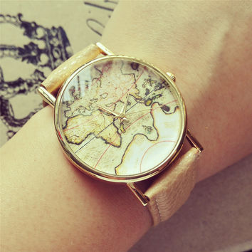 YAN & LEI PU Leather Belt Round Dial Quartz Watch with Vintage Map Print