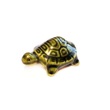 Miniature Turtle, Green Porcelain Figurine